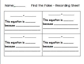 Balancing Equations - Find the False