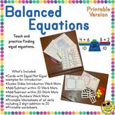 Balancing Equations First Second Grade Activity Teaching Worksheet