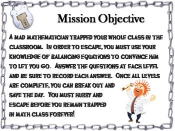 Balancing Equations Game: Escape Room Math