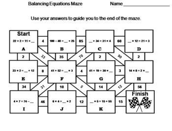 Balancing Equations Game: Math Maze