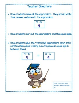 Balancing Equations Great for Math Module