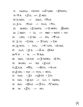 Balancing Equations - Mass Practice
