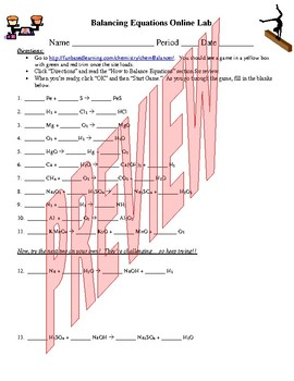 Balancing Equations Online Activity (for Physical Science)