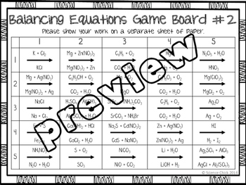 Balancing Equations Partner Activity