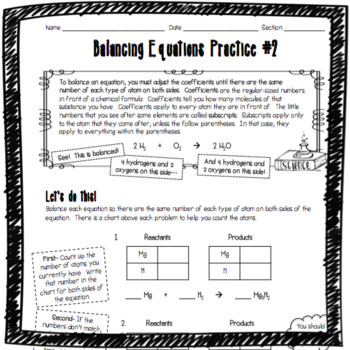 Balancing Chemical Equations Practice #2 by Adventures in Science