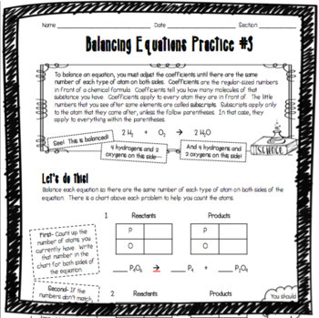 Balancing Chemical Equations Practice #3 by Adventures in ...
