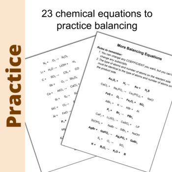 Balancing Equations - Practice Worksheet and Answer Key by ...