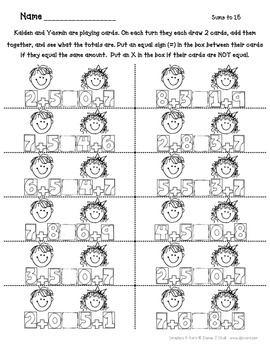 Balancing Equations Printables for 1st Grade,  *Aligns With Common Core*