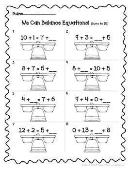 Balancing Equations Printables for 1st Grade,  *Aligns Wit