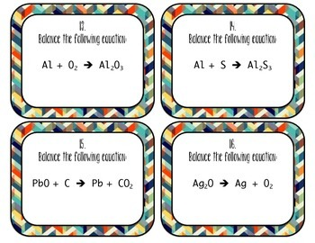 Balancing Equations (Simple) Chemistry Task Cards