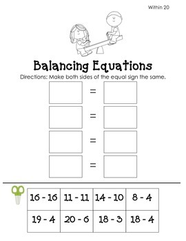 Balancing Equations: Subtraction Pack