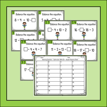 Balancing Equations Subtraction Within 20 Task Cards