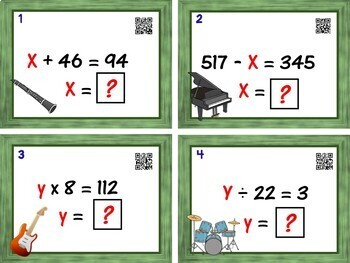 Balancing Equations Task Cards - 24 Cards  (solve for x and y)
