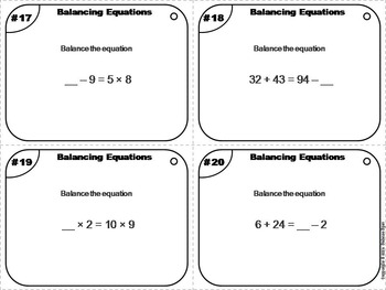 Balancing Equations Task Cards Activity - 4th Grade, 5th Grade, 6th Grade