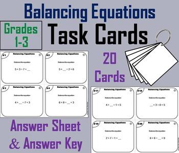 Balancing Equations Task Cards/ Activity - 1st, 2nd, 3rd Grade