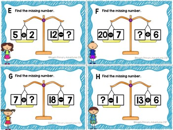 Balancing Equations Task Cards Addition and Subtraction within 20