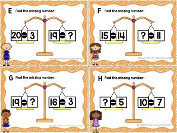 Balancing Equations Task Cards Addition and Subtraction within 20 BUNDLE