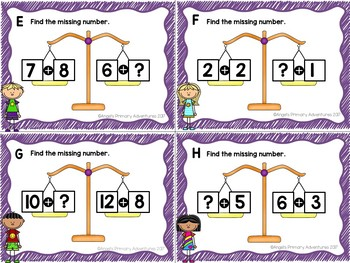 Balancing Equations Task Cards Addition to 20