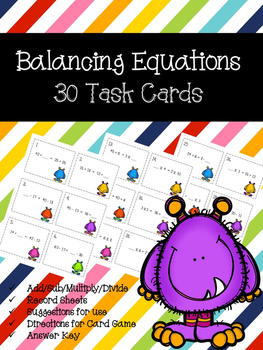 Balancing Equations Task Cards & Game