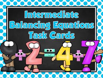 Editable Intermediate Balancing Equations Task Cards&Coope