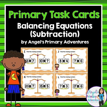 Balancing Equations Task Cards Subtraction within 20