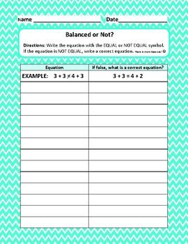 Balancing Equations {True or False Version & Equal & Not Equal Version}