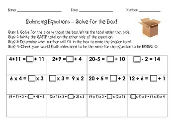 Balancing Equations - Value of the Missing Boxes