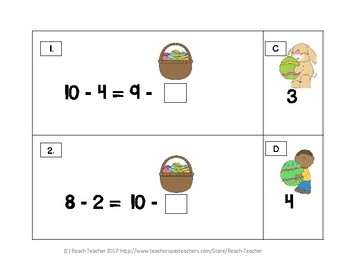 Easter Themed Balancing Equations With Numbers Up to 20 with Subtraction 1.OA.7