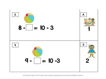 Summer Themed Balancing Equations With Numbers Up to 20 with Subtraction 1.OA.7