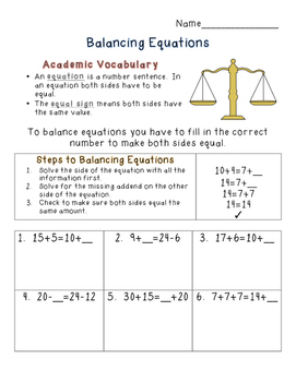 Balancing Equations Worksheet Practice and Scoot!