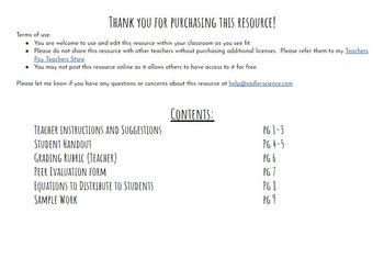 Balancing Equations and Conservation of Mass Performance Task Project (MS-PS1-5)