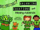 Balancing Equations and Missing Addends Task Cards and Sco