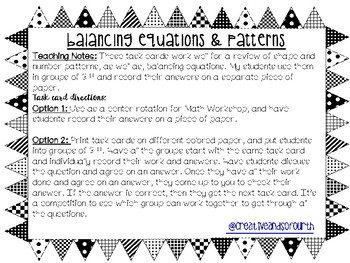 Balancing Equations and Pattern Task Cards
