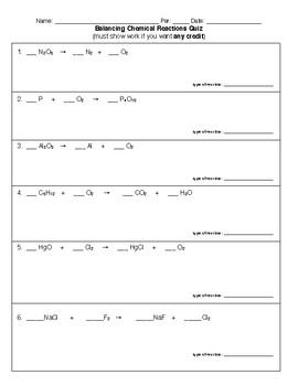 Balancing Equations quiz HS-PS1-7
