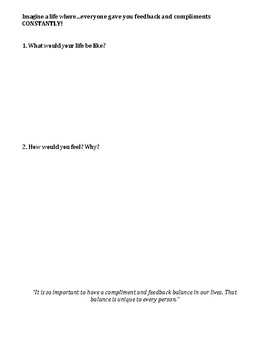 Balancing Feedback: Accepting Criticism and Compliments worksheet