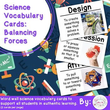 Balancing Forces Vocabulary Cards (Large)