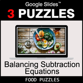 Balancing Subtraction Equations - Google Slides - Food Puzzles
