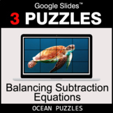 Balancing Subtraction Equations - Google Slides - Ocean Puzzles