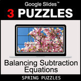 Balancing Subtraction Equations - Google Slides - Spring Puzzles
