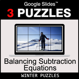 Balancing Subtraction Equations - Google Slides - Winter Puzzles