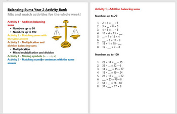 Balancing Sums Year 2 Activity Bank (Differentiated)