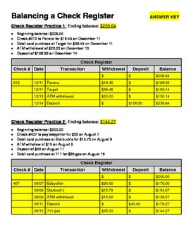 Balancing a Check Register (Financial Literacy)
