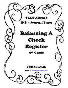 Balancing a Check Register INB TEKS 6.14C
