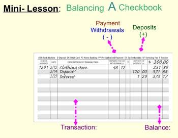 balancing a checkbook worksheet