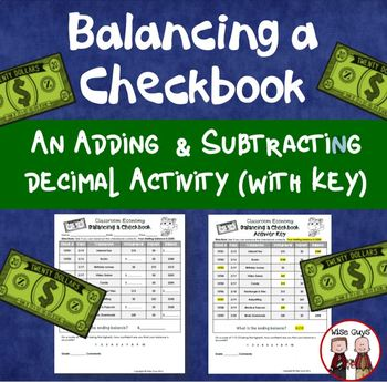 Balancing a Checkbook Activity Part of Classroom Economy Unit