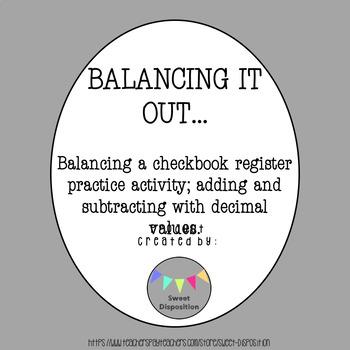 Balancing a Checkbook Activity