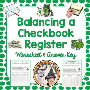 Balancing a Checkbook Register Financial Literacy Money Worksheet  Smartboard KEY