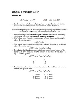 Balancing a Chemical Reaction Handout and Study Aid (Chemistry Review)