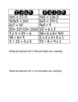Balancing equations true or false sort!