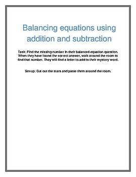 Balancing equations using addition and subtraction